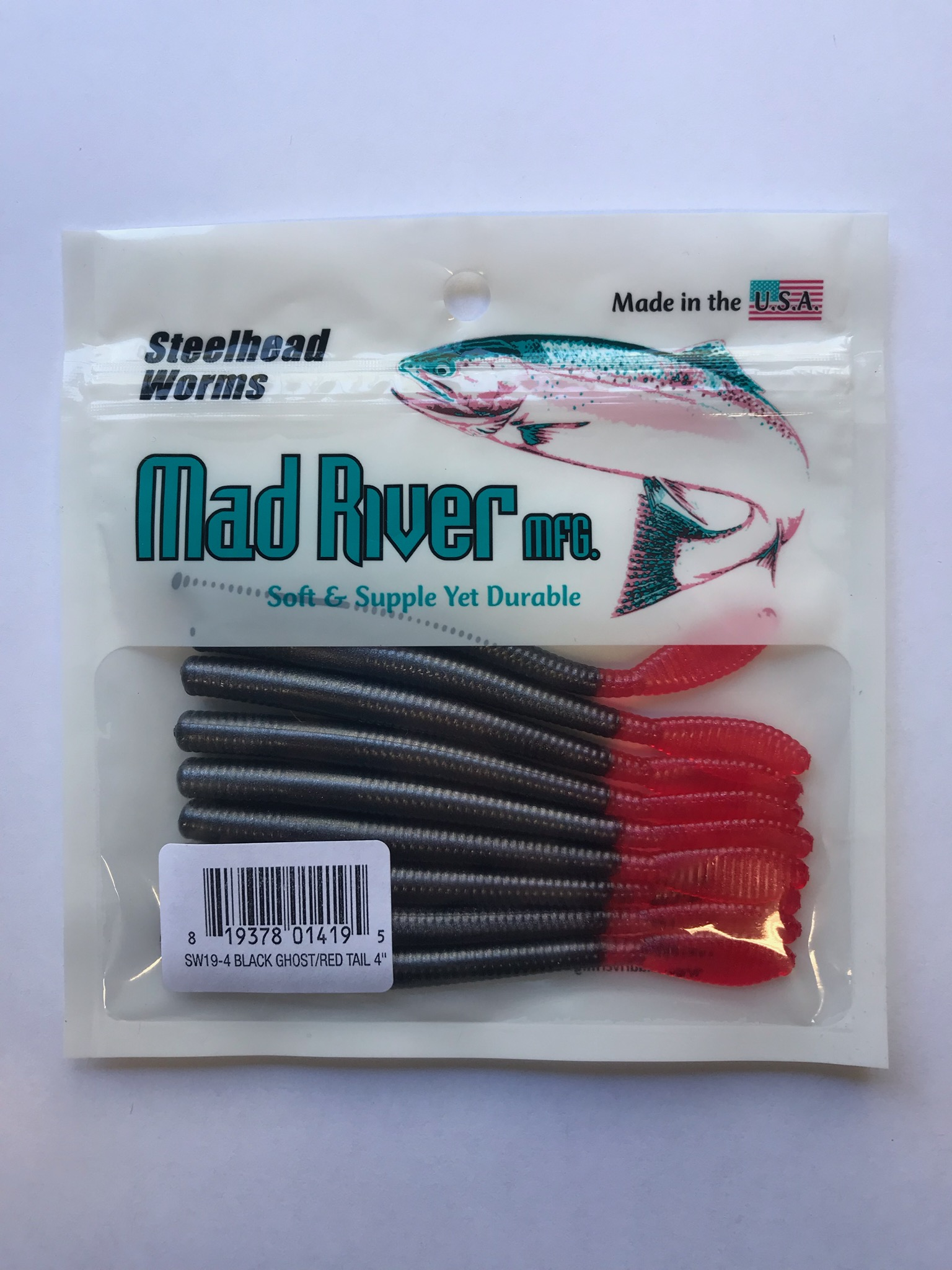 Steelhead Worms: Black Ghost/Red Tail