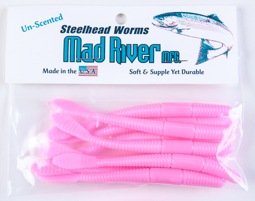 Unscented Steelhead Worms: Bubble Gum