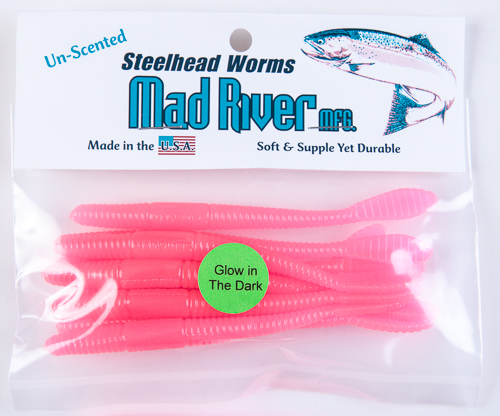 Unscented Steelhead Worms: Glow Pink