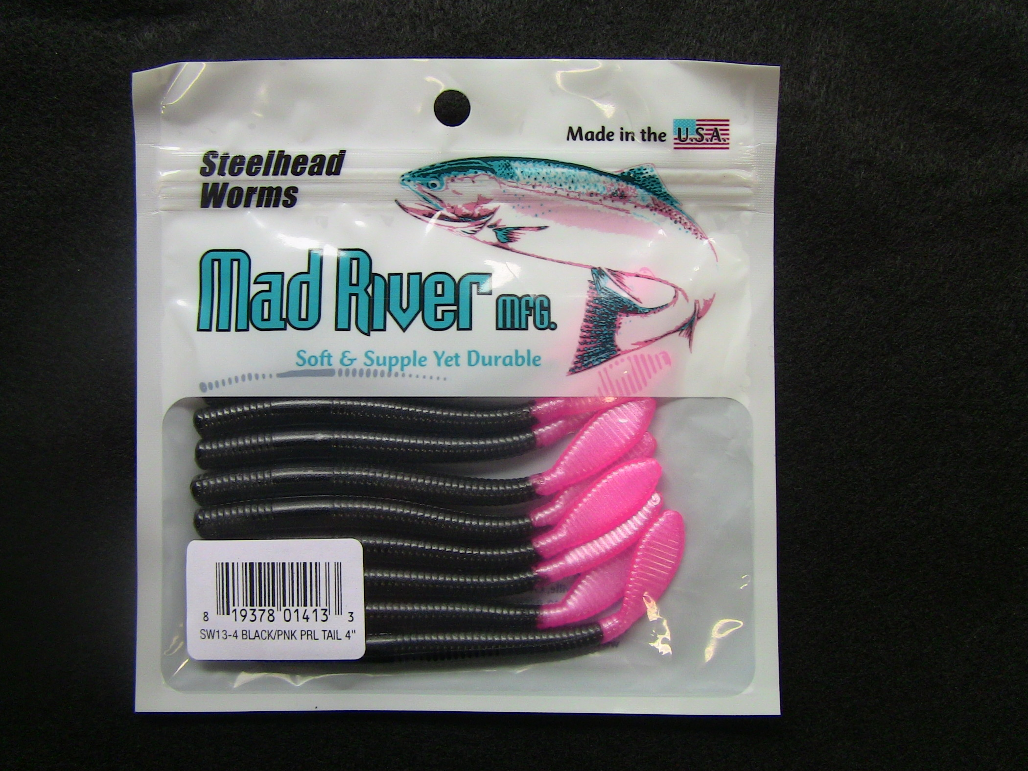 Steelhead Worms: Black/Pink Pearl Tail