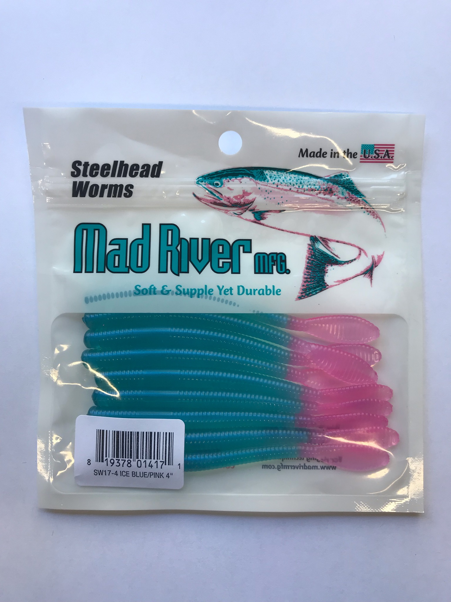Steelhead Worms: Ice Blue/Nail polish Tail